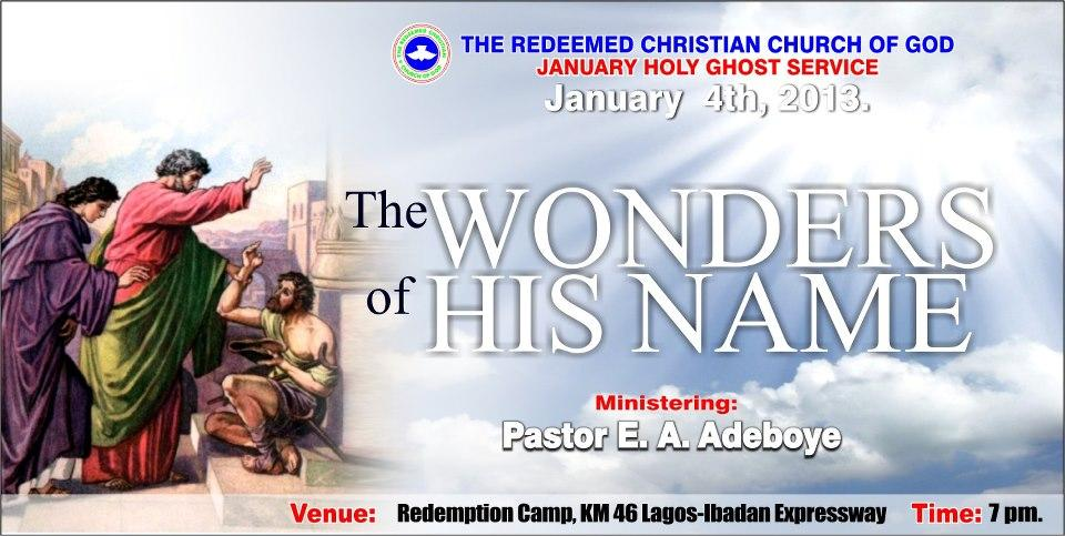"""Prayer points from January Holy Ghost Service: """"The Wonder"""