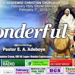 Transcript of February 2013 Holy Ghost Service – WONDERFUL
